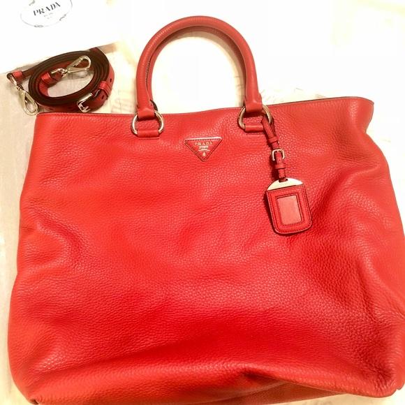 44e27822596e Large Red Prada Calf Leather Tote